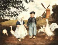 Dutch Children with Geese