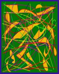 Abstract Green and Yellow Doddles