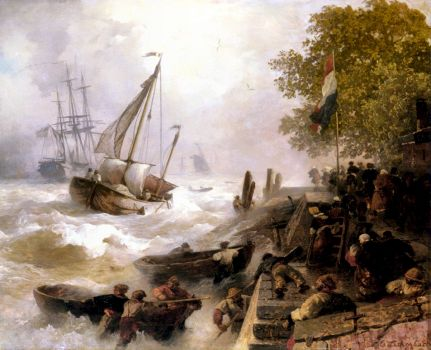 Return to the Harbor in Rough Seas, 1893 by Andreas Achenbach