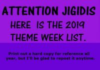 Jigidi Theme Weeks 2019 weekly - same as last week's (and Ank's) - trying to catch as many Jigidis as possible.