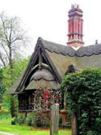 Fairy Tale Thached Roof Cottage with Jacobean Chimney