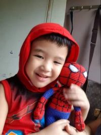 Liam and his Spider Man Toy