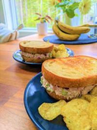 Tuna salad sandwich on toasted sourdough with onion and yogurt chips