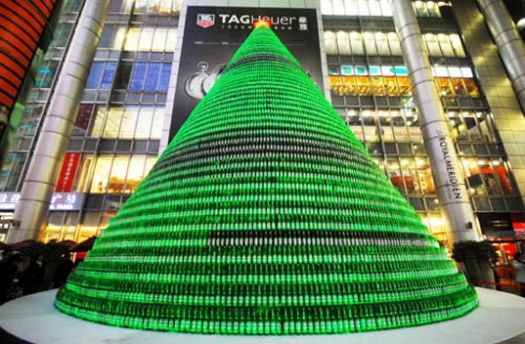 beer bottle xmas tree