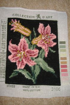 Tapestry Picture - Floral - Pink Stargazer Lilies
