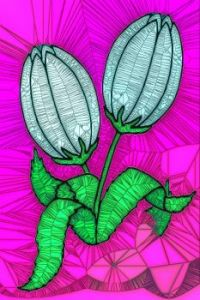 STAINED GLASS FLOWER B97