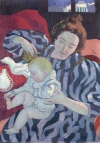 Vintage Art Mum and Baby