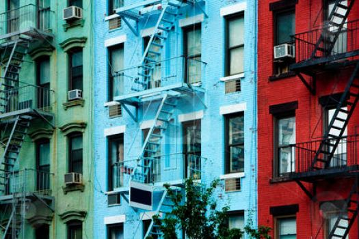 apartment buildings with fire escapes