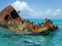 Ancient Rusting Wreck On a Reef in Hawaii