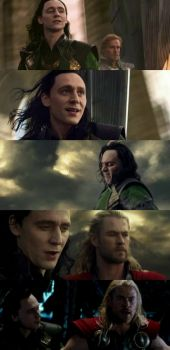 "Tom Hiddleston as Loki and Chris Hemsworth as Thor in ""Thor: The Dark World"""