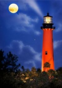 Jupiter Lighthouse and a Harvest Moon -- Florida...