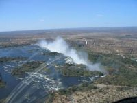 approach to Victoria Falls from our helicopter