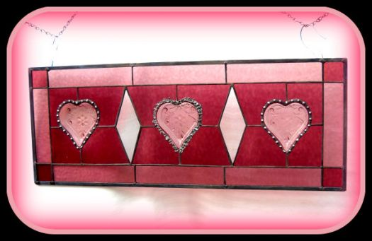 Pink Crystal Plates incorporated into the design of stained glass.