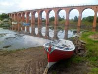 Scotland: Montrose Basin, Boat and Bridge