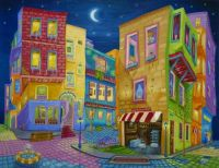 Esam Jlilati - Original oil painting, Night Walk