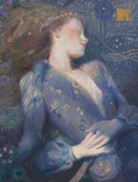 A ethereal illustration of A daydreaming young woman