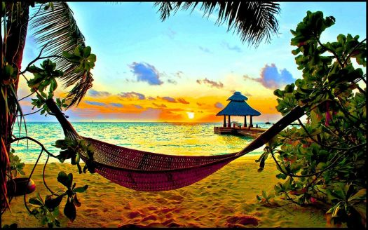 watching the sunset lying in a hammock
