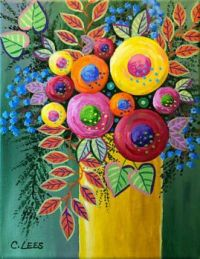 Abstract Flowers Yellow Vase