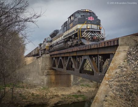 Norfolk Southern's Savannah and Atlanta heritage unit crosses Broken Sword Creek south of Chatfield, Oh
