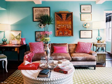Charming Teal Walls Living Room Pink Pillows Part 3
