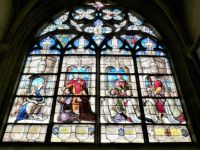 Stained glass window in cathedral at Bourges, France
