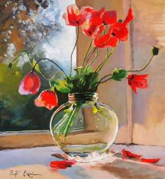 Poppies in a Glass Vase by Piotr Olech