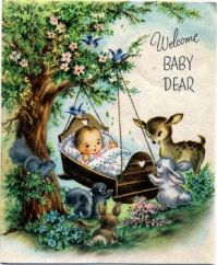 Themes Vintage illustrations/pictures - Welcome Baby Dear