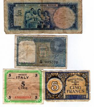 Theme--Money  Top is 5 Turkish Lira; Middle One Rupee from India; Bottom 5 Lire; 5 Francs from Morocco