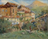 Georgiy Alexandrovich Lapchine, a.k.a. Georges Lapchine (Russian, 1885 - 1950), Sunny Day in a Mediterranean Town, 1928