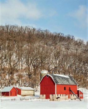 Red Barn By the Hills in Wisconsin....