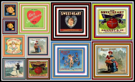 Vintage Fruit Crate Labels Depicting Love, Cupid  and Sweethearts