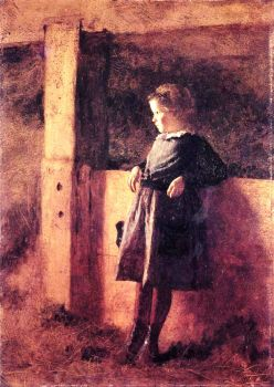 Girl in Barn by Eastman Johnson