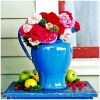 Blue Enameled Pitcher with Roses and Apples