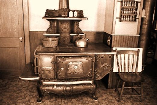 beautiful old stove and chair