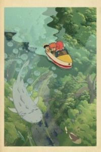 Two kids in a boat with a whale beneath them
