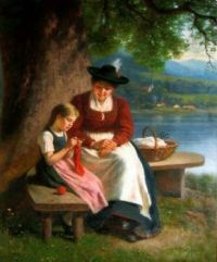 The Knitting Lesson, Mother and Daughter by the Lake (1902)