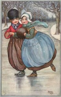 Christmas Scene - Art by Florence Hardy, Dutch Children on Ice