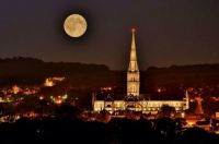 Salisbury Cathedral in the moonlight