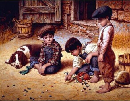 Boys Playing Marbles by Jim Daly
