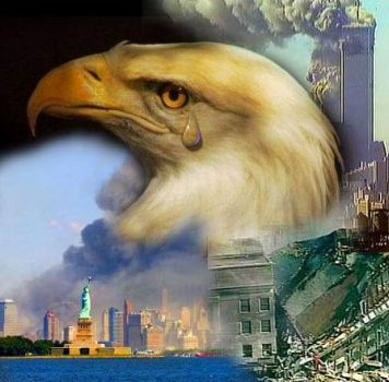 911 Memorial American Eagle Flag Twin Towers Stock Image