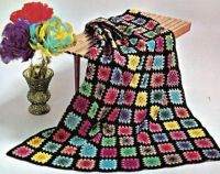 Colorful Granny Square Crocheted Afghan