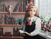 Pati Bannister Art Titled 'Susanne' Girl Choosing A Book To Read