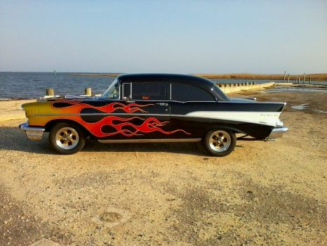 1957 Chevy cool flames!  bandit / spunky!