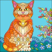 Beautiful cat with nature....I coloured on my computer app.