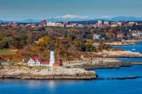 Cape Elizabeth, Maine with White Mountains in background