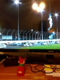 Elf on a Chest Watchin' Nascar on his time off!!!