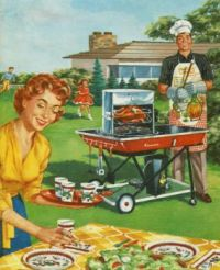 Vintage Kenmore BBQ Ad - Let's Cook Outdoors