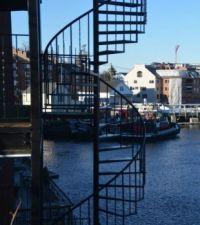 Tugboats and spiral staircase.