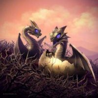 Baby dragons with purple eyes