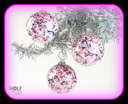 Hand blown Pinknblack Christmas Baubles